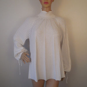 Chicos Sweater Pullover Size 2 Cotton Wool White